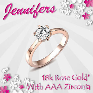 Rose-Gold-Ring-18ct-Ladies-Girl-Zircon-Crystal-Exquisite-Solitaire-Valentine-NEW