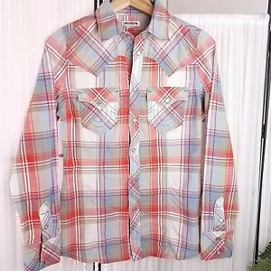 True-Religion-Pearl-Snap-Button-Western-Plaid-Shirt-Womens-XS-100-Cotton