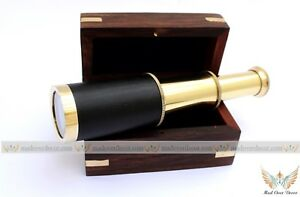 SOLID-BRASS-NAUTICAL-COLLECTIBLE-SMALL-TELESCOPE-WITH-WOOD-BOX