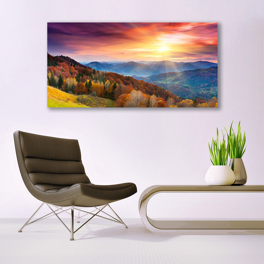 Canvas print Wall art on 140x70 Image Picture Picture Picture Mountain Forest Gelb Landscape c80358