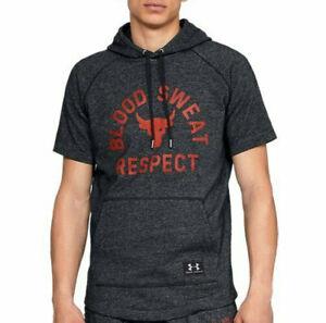 Under Armour UA Project Rock Blood Sweat Respect Fitness Hoodie Men Short Sleeve