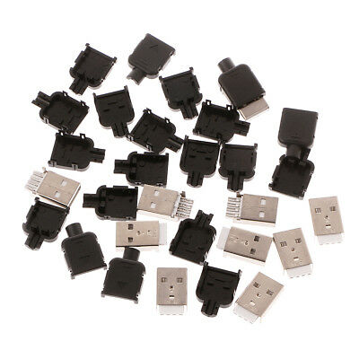 10Sets Type A USB 4 Pin Male Socket Connector Plug Termination Plastic Shell Kit