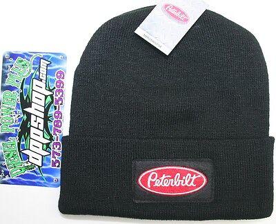 Peterbilt Beanie Stocking cap hat truck toboggan ski knit cuff black warm new