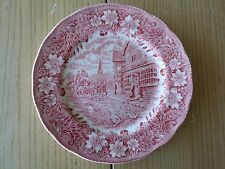 ROYAL TUDOR WARE COACHING TAVERNS PLATE ENGLAND PINK TRANSFERWARE