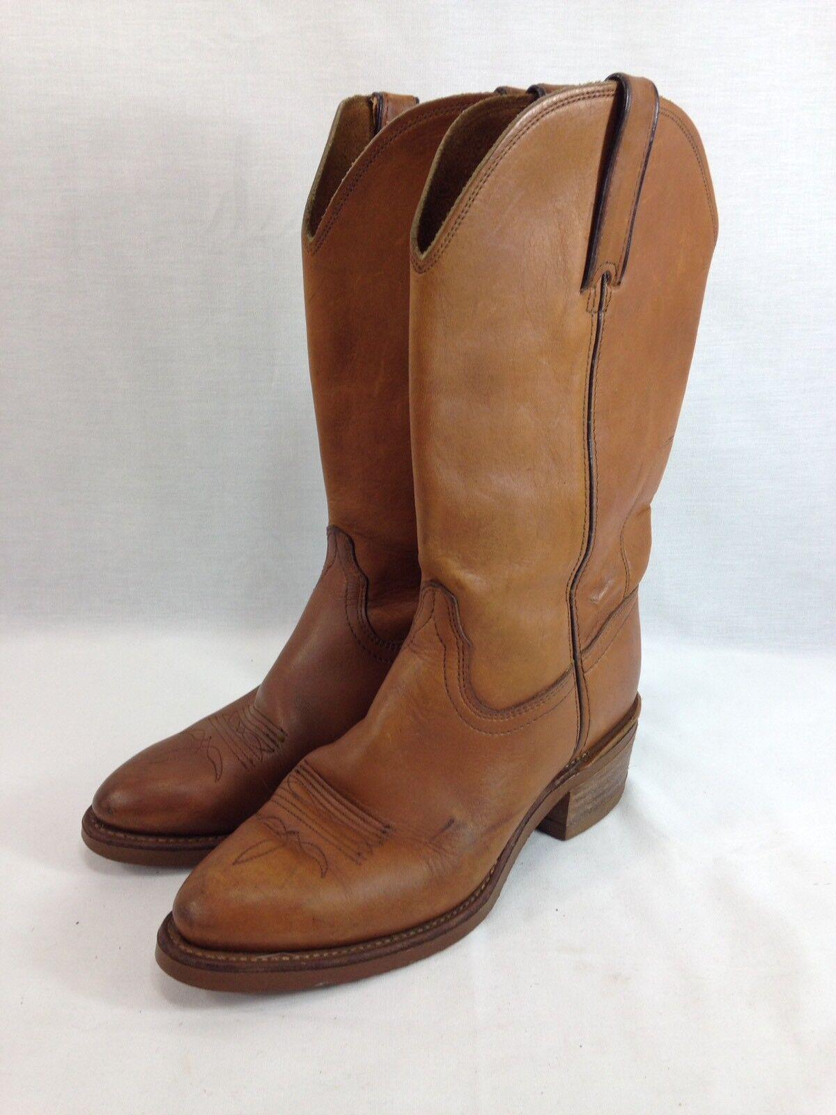 VTG Durango Cowboy Stiefel damen 8.5 M braun Leather Western Cowgirl Pull On USA