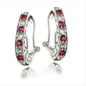 925-Silver-2-5ct-Lab-Created-Ruby-amp-White-Sapphire-Oval-Clutchless-Earrings