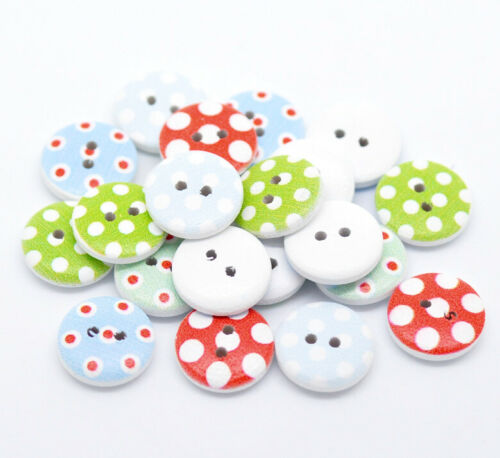 BULK BUY 95 x Mixed Spotty Polka Dot Design White Wooden Buttons 15mm