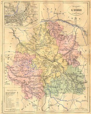 Departement De L'indre; Plan Chateauroux 1881 Old Antique Map Chart Be Novel In Design Art Indre