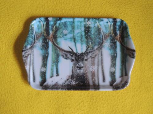 Ambiente 1x Tablett Hirsche WINTER 13 x 21 trays Weihnachten deer Tiere wald bäu