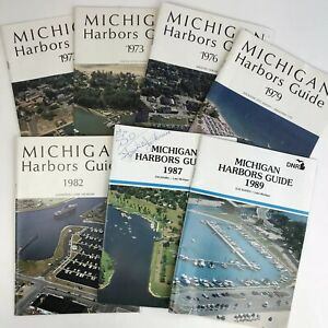 Lot Of 7 Michigan Harbors Guide Books Booklets Boating Sailing 1970's 1980's MI