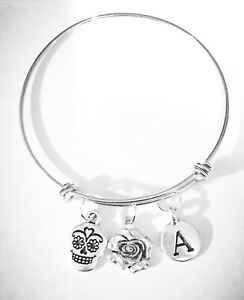 Sugar-Skull-Bangle-Charm-Bracelet-Rose-Initial-Day-Of-The-Dead-Gothic-Jewelry