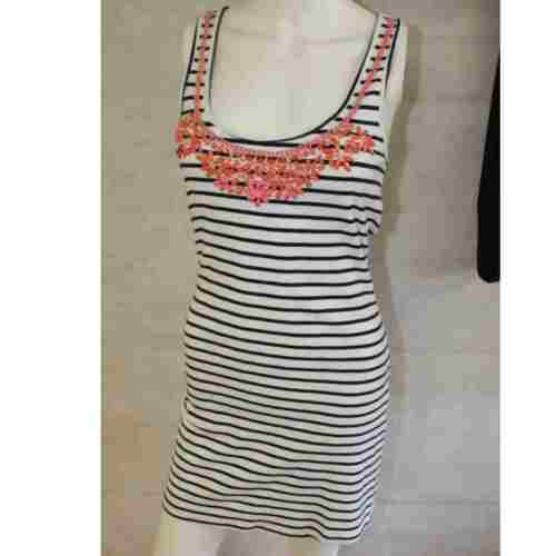 Ladies Womens Cover Up Sleeveless Cotton Dresses Jewel Bead Embellish