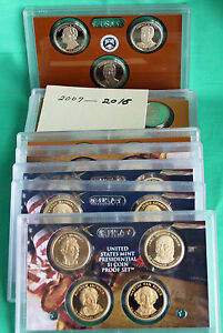FULL RUN 2007-2016 PRESIDENTIAL $1 DOLLAR GEM PROOF SETS w// 2012 10 SETS 39 coin
