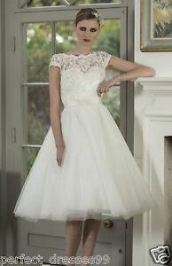 New-Knee-Length-Short-White-Ivory-Lace-Bridal-Gowns-Wedding-Dress-Stock-Size6-18