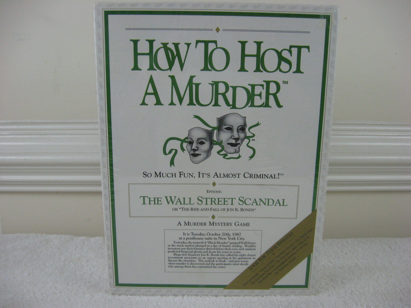 How To Host A Murder  The Wall Street Scandal  Game 1991-New & Factory Sealed