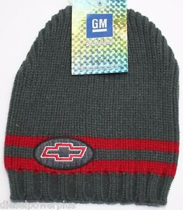 d7f8a66a989 chevy chevrolet knitted stocking cap hat beanie gray red winter one ...