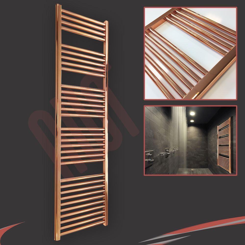 400mm(w) x 1600mm(h) Designer Straight Copper Heated Towel Rail (2344 BTUs)