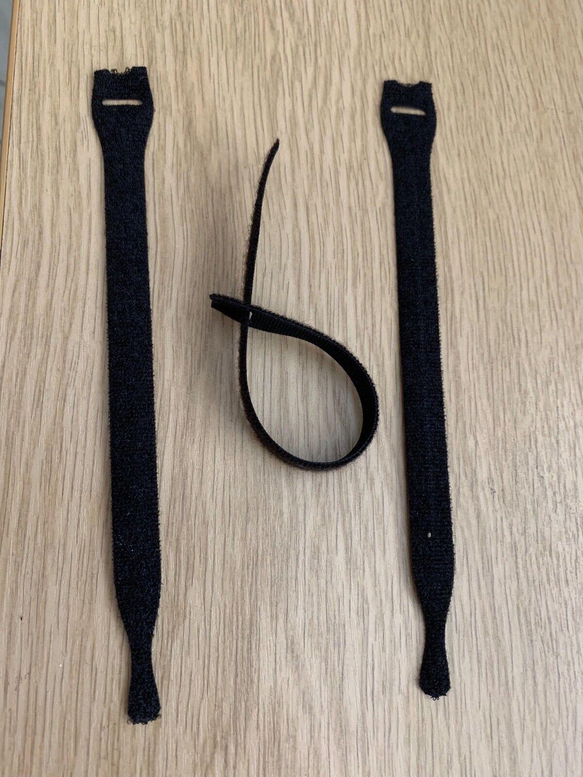 10 x TEXTIE Hook & Loop- Hellermann Tyton Cable Tie 200mm Black 10 Pack