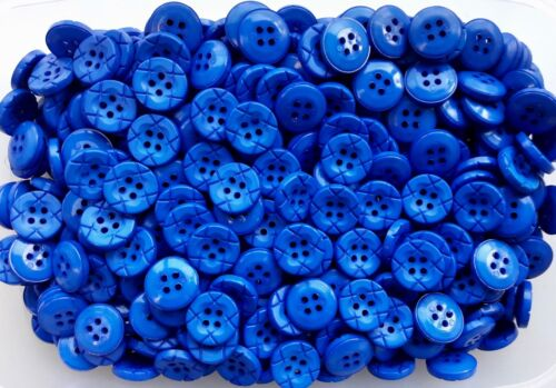S11 18mm 28L Royal Blue 4 Hole Leather Effect Buttons Craft Coat Jacket Sewing