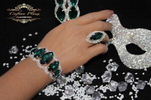 Edeles-Luxus-Strass-Armband-Brautschmuck-Bracelet-Zirkonia-Hochzeit-Silber-Gruen