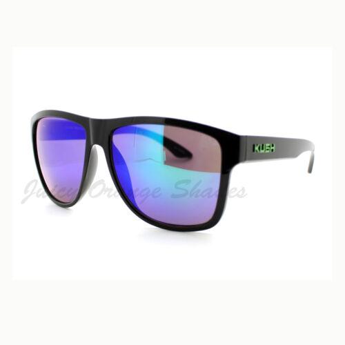 KUSH Sunglasses Oversized Square Black Frame Multicolor Mirror Lens