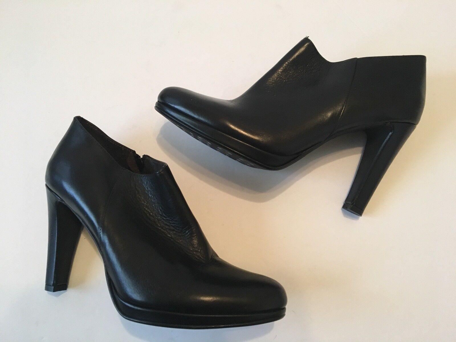 Sesto Meucci Meucci Meucci Negro Cuero Cremallera botas al tobillo con suela de plataforma SZ10 Hecho en Italia  ventas en linea