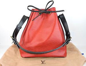 01b50c6629a43 AUTHENTIC LOUIS VUITTON PETIT NOE RED BLACK EPI LEATHER DRAWSTRING ...