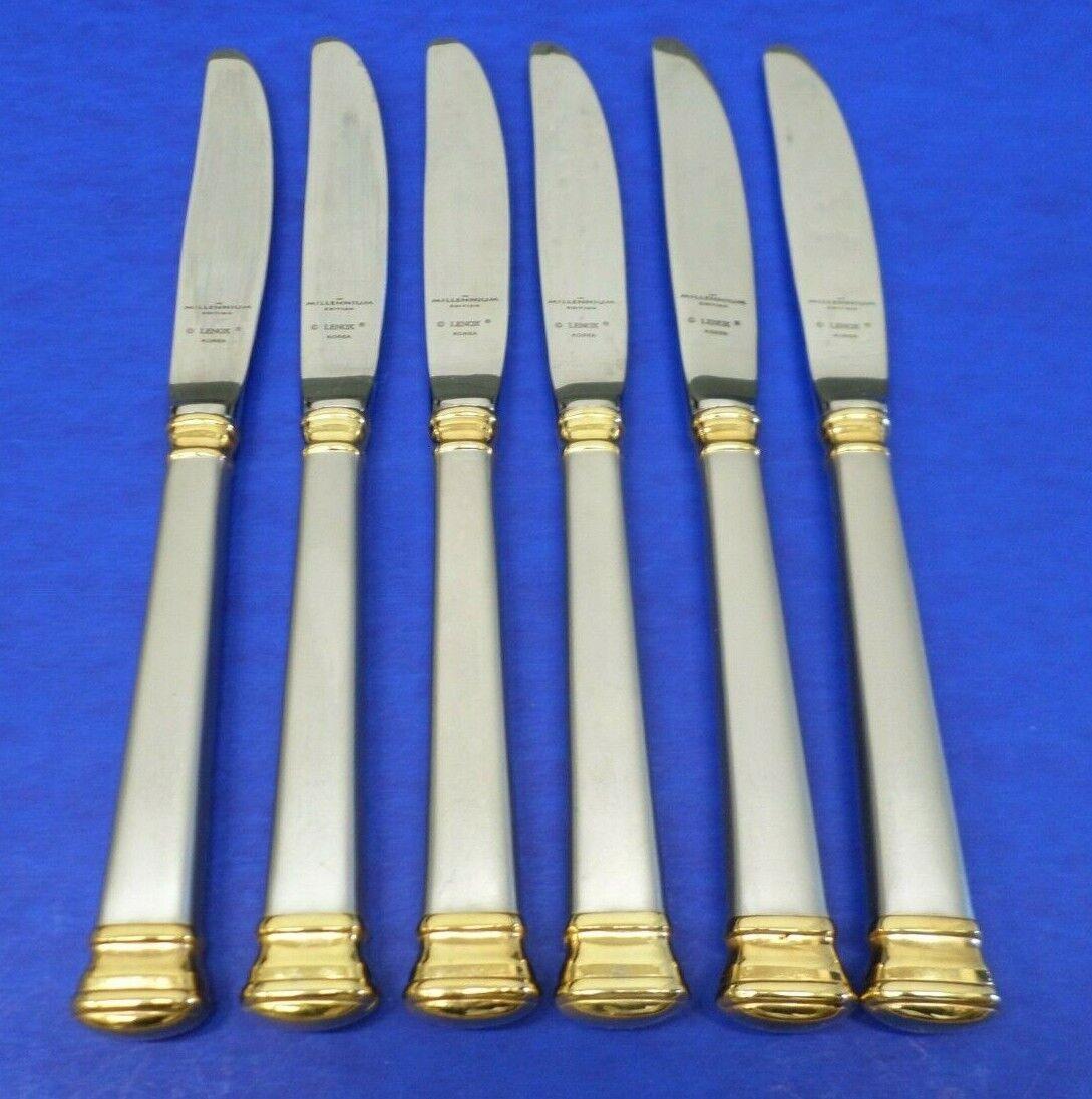 6-Lenox éternelle or givré 18 8 Corée Inoxydable Coutellerie 9.25  dinner knives