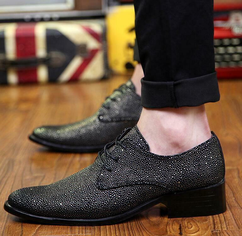 Fashion Mens Pointy Toe Rhinestone Lace Up Dress Casual Business Nightclub shoes