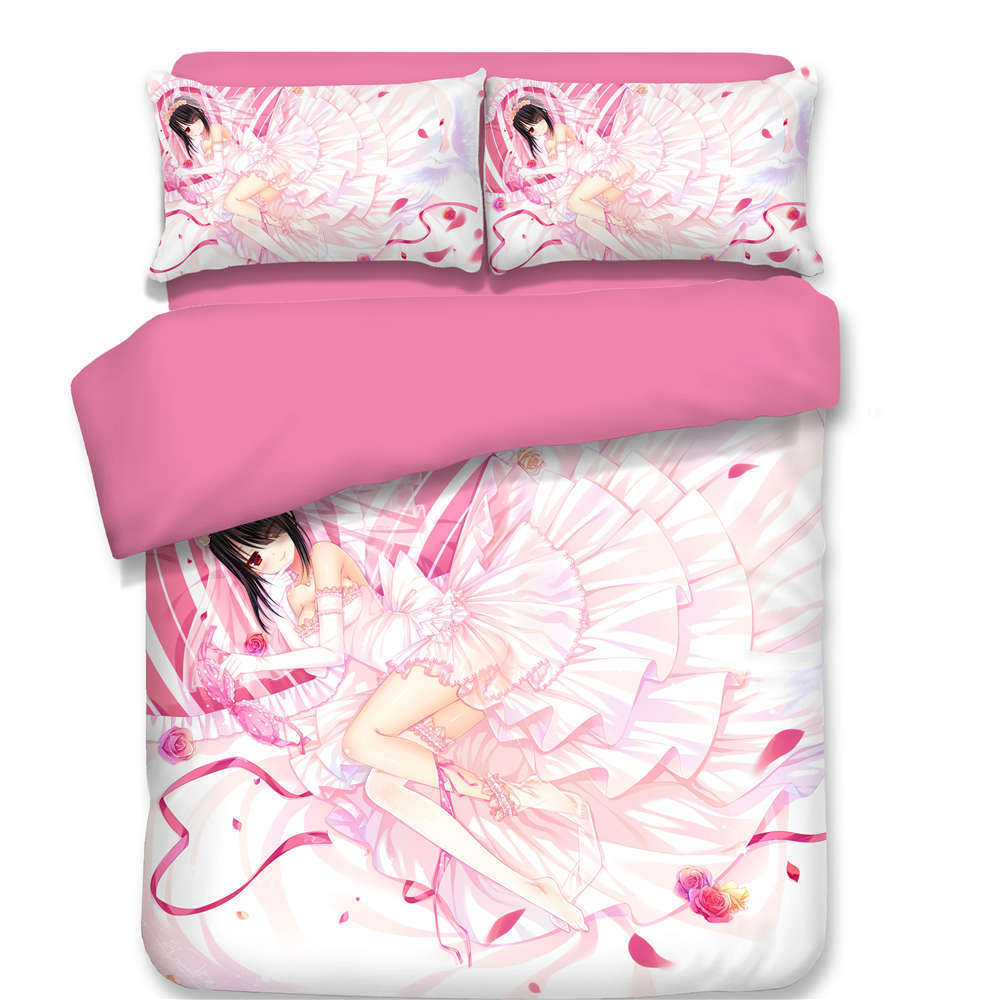 Pink Girl Heart Puff Skirt 3D Digital Print Bedding Duvet Quilt Cover Pillowcase