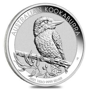 2021 1 Kilo Silver Australian Kookaburra Perth Mint .9999 Fine BU In Cap