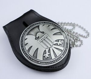 Agents of SHIELD Badge & Leather Badge Holder Chain-1476