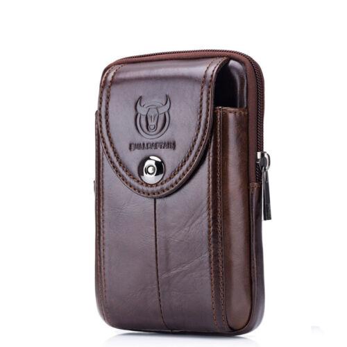 Men/'s Genuine Leather Fanny Waist Bag Cell//Mobile Phone Pocket Belt Bum Pack QU