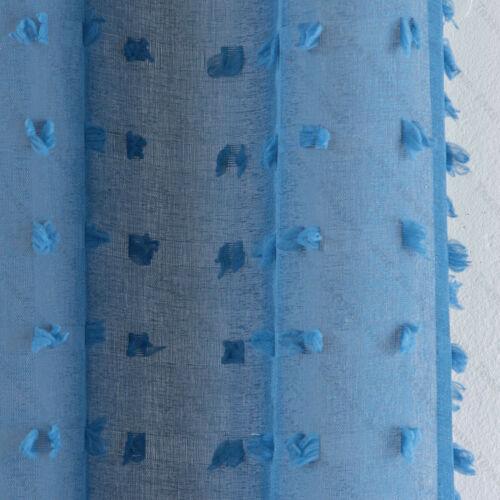 Blue Pom Pom Bali Textured Sheer Voile Net Curtain Eyelet Ring Top Single Panel