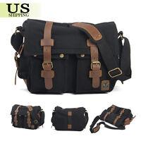 Vintage Canvas DSLR Camera Bag Shoulder Messenger Bag For Canon Nikon Sony Black