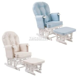 FoxHunter-Nursing-Glider-Maternity-Rocking-Chair-With-Stool-White-Wood-Frame-New