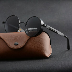 4d3895a8bd Image is loading Vintage-Polarized-Steampunk-Sunglasses-Mens-Brand-Design -Round-