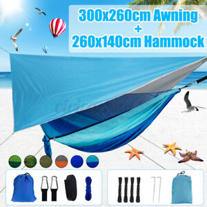 Camping Hammock With Mosquito Net Tent Hanging Bed 300x260cm Awning+260x140