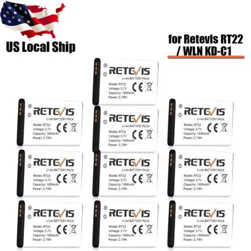 10pcs Original Retevis RT22//WLN KD-C1 Radio Li-ion Battery Pack 3.7V 1000mAh US