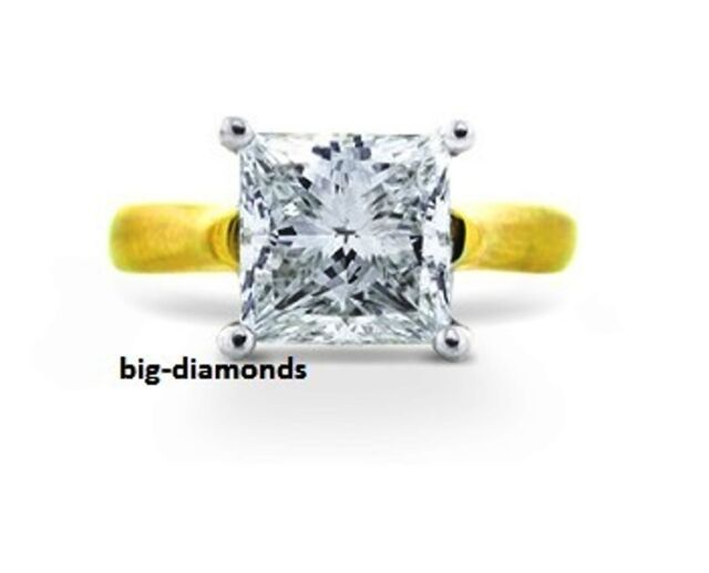 3.00 Ct Big Solitaire Princess Cut G-VVS2 Diamond Engagement Ring 14K