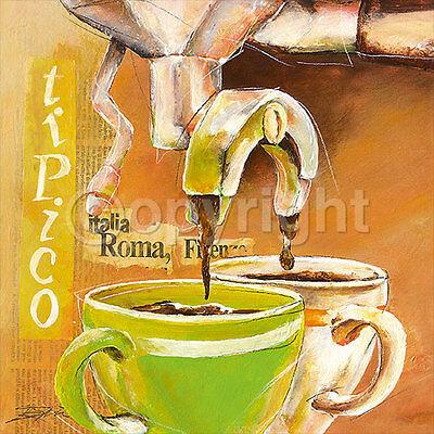 Elizabeth Espin: Tipico italiano II Cafe Kaffee Küche Fertig-Bild 30x30 Wandbild