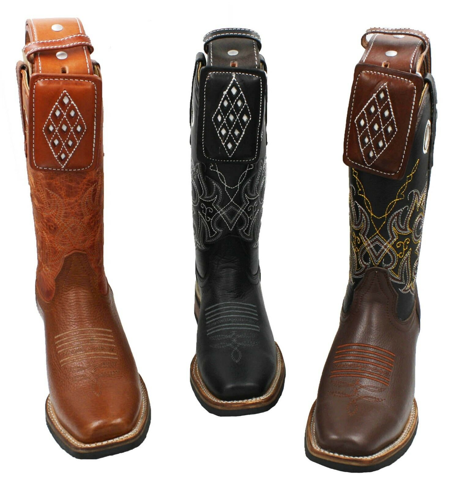 uomo Genuine Cowhide Rodeo Leather Cowboy Boots With Free Belt -Floter Scarpe classiche da uomo