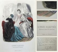 Antique French Fashion Print Framed, Theater Dresses, La Mode Illustrée, Paris
