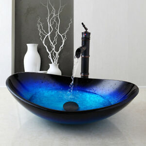 Bathroom Combo Set Tempered Glass Vessel Sink And Black Waterfall Faucet Ebay