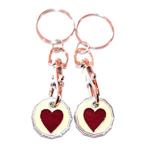 2 PACK BIG RED HEART ONE POUND COIN TOKEN KEYRING SHOPPING TROLLEY KEYRING
