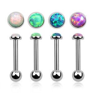 Details zu Tragus Ohrstecker Ohr Piercing Stecker Helix Cartilage Barbell Stab Opal Imitat