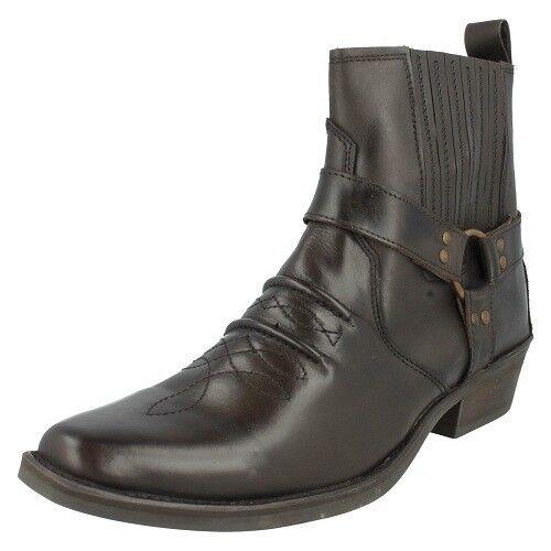 Maverick A3003 Mens 100% dunkles Leder braune Stiefel