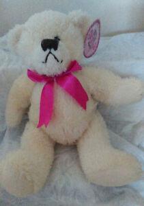 HUMATT-CREAM-SOFT-CUDDLY-TOY-LOTS-OF-LOVE-TEDDY-BEAR-12-034-Hot-pink-Bow-Gift