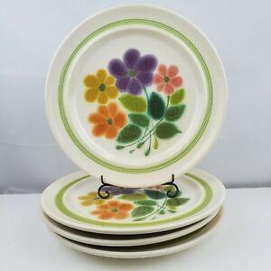 Set-of-4-Vintage-1970-039-s-FLORAL-Franciscan-Earthenware-Dinner-10-5-034-Plates-Flower