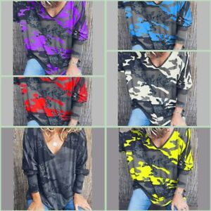 Tops-Loose-Long-Sleeve-Floral-Casual-V-Neck-Pullover-Jumper-T-Shirt-Womens